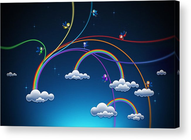 Abstract Acrylic Print featuring the drawing Fairies Made Rainbow by Gianfranco Weiss