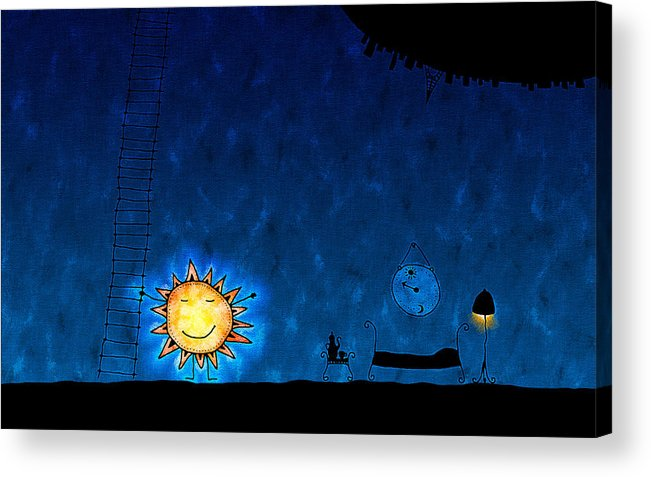 Abstract Acrylic Print featuring the drawing Good Night Sun by Gianfranco Weiss