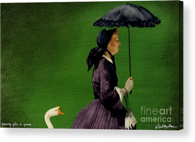 Will Bullas Acrylic Print featuring the painting Granny Gets A Goose... by Will Bullas