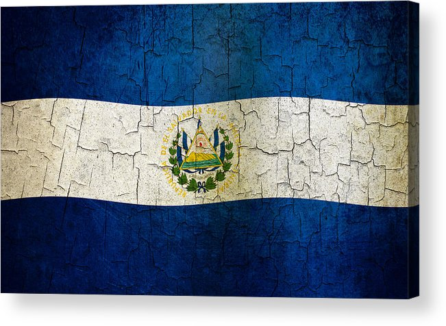 Aged Acrylic Print featuring the digital art Grunge El Salvador Flag by Steve Ball