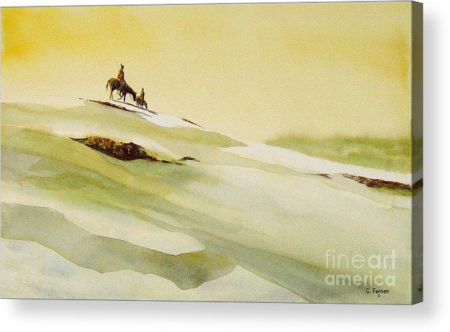 Landscape Acrylic Print featuring the painting Heading Home From The Hunt by Charles Fennen