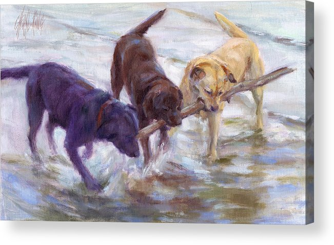 Labrador Retreiver Acrylic Print featuring the painting Lab Values by Cheryl King