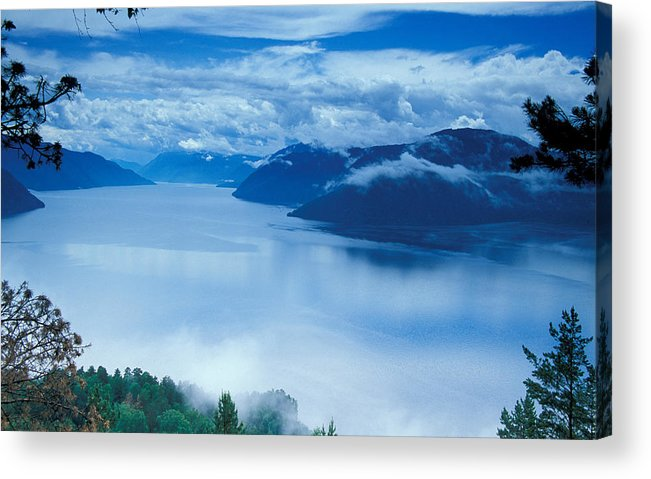 Fog; Landscape; Mist; Mountain; Mountains; Nature; Nobody; Outdoors; Outside; River; Rivers & Lakes; Scenery; Scenic; Scenics; Sky; Trees; Water Acrylic Print featuring the photograph Landscape by Anonymous