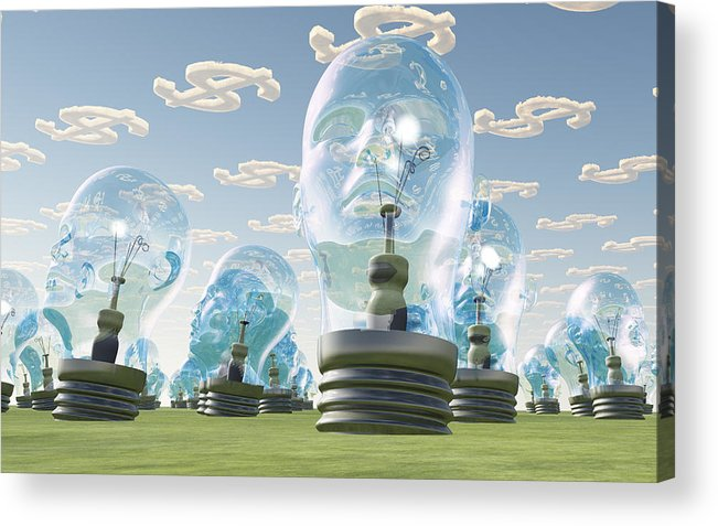 Idea Acrylic Print featuring the digital art Light Bulb Heads And Dollar Symbol Clouds by Bruce Rolff