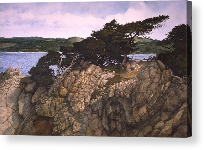 Seascape Acrylic Print featuring the painting Lobos Lookout by Tom Wooldridge