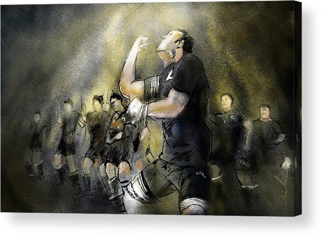All Blacks Acrylic Print featuring the painting Maori Haka by Miki De Goodaboom