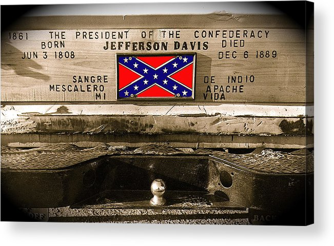 Mescalero Apace Truck Honoring Jefferson Davis Tucson Arizona Vignetted Color Added 2008 Acrylic Print featuring the photograph Mescalero Apace Truck Honoring Jefferson Davis Tucson Arizona Vignetted Color Added 2008 by David Lee Guss