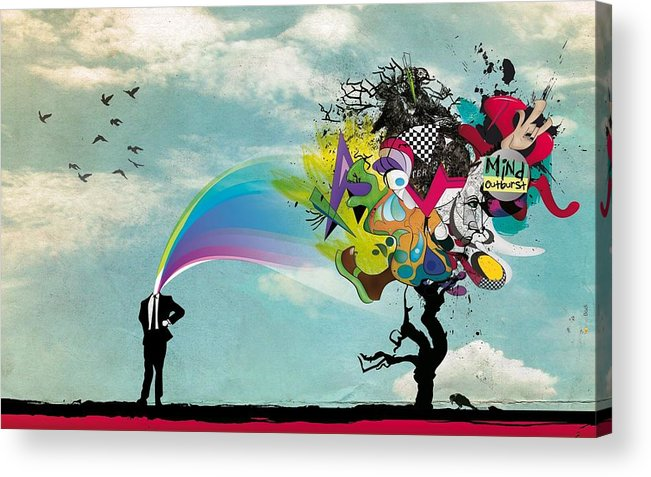 Abstract Acrylic Print featuring the digital art Mind Outburst by Gianfranco Weiss