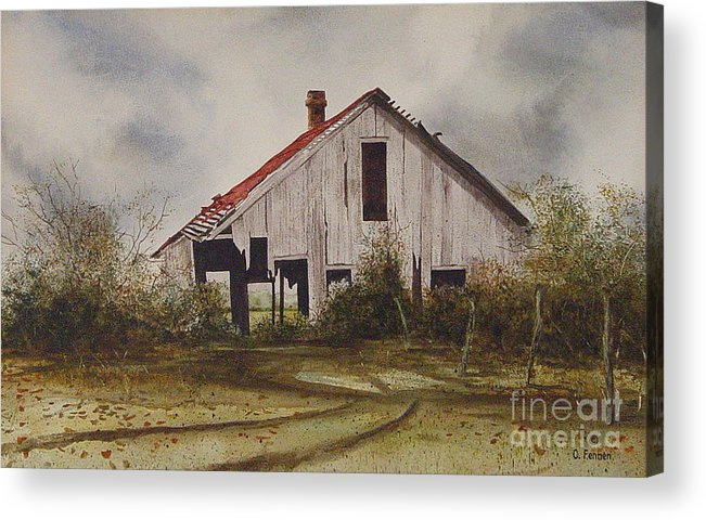 Old Barns Acrylic Print featuring the painting Mr. Munker's Old Barn by Charles Fennen