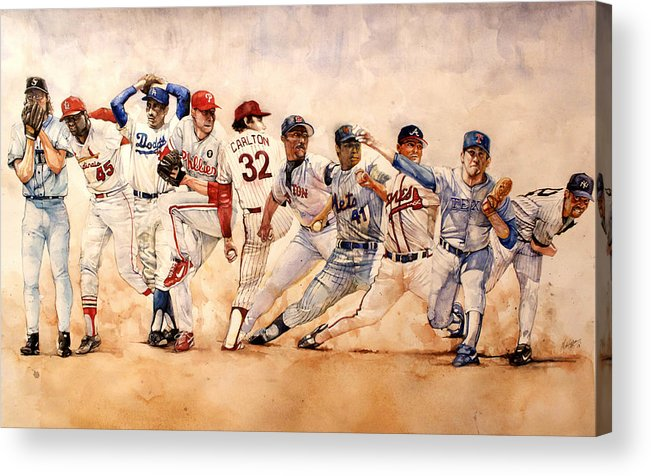Pitchers Acrylic Print featuring the painting Pitching Windup by Michael Pattison
