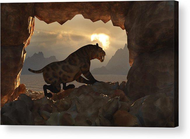 sabre-tooth Tiger Smilodon Pleistocene Carnivore Cat Feline Cave Sunset Sunrise Landscape Concept Concepts Conceptual 3d Prehistoric Nature Hunter Acrylic Print featuring the digital art Sabre-tooth Cave. by Mark Stevenson