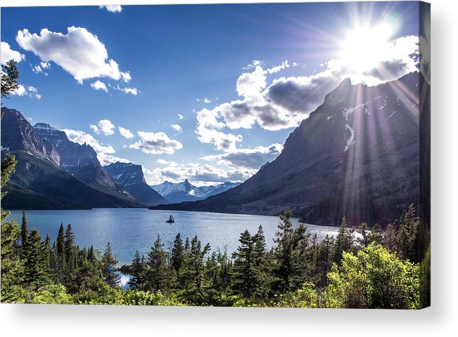 Mountain Acrylic Print featuring the photograph St. Mary Lake by Aaron Aldrich