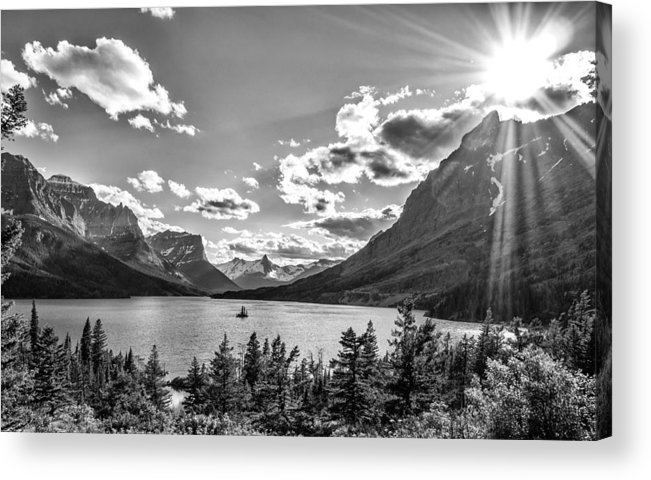 Lake Acrylic Print featuring the photograph St. Mary Lake Bw by Aaron Aldrich