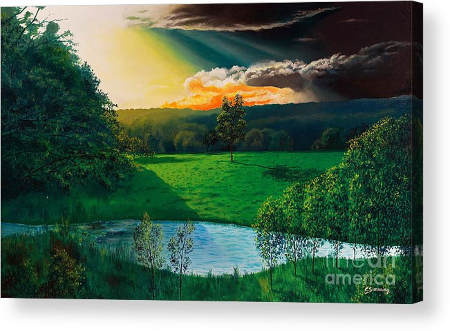 Sunset Acrylic Print featuring the painting Sunset At L Hermitiere by Christian Simonian