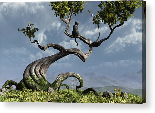 Whimsical Acrylic Print featuring the digital art The Sitting Tree by Cynthia Decker