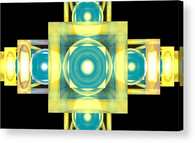 Stairs Forward Cube Sphere Space Galaxy Geometry 3d Acrylic Print featuring the digital art The Stairs Forward by Mario Ozimy