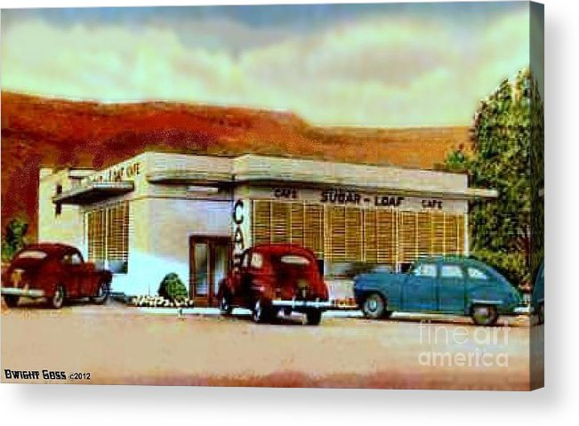 Vintage Cars Acrylic Print featuring the painting The Sugar Loaf Cafe In St. George Ut In The 40's by Dwight Goss