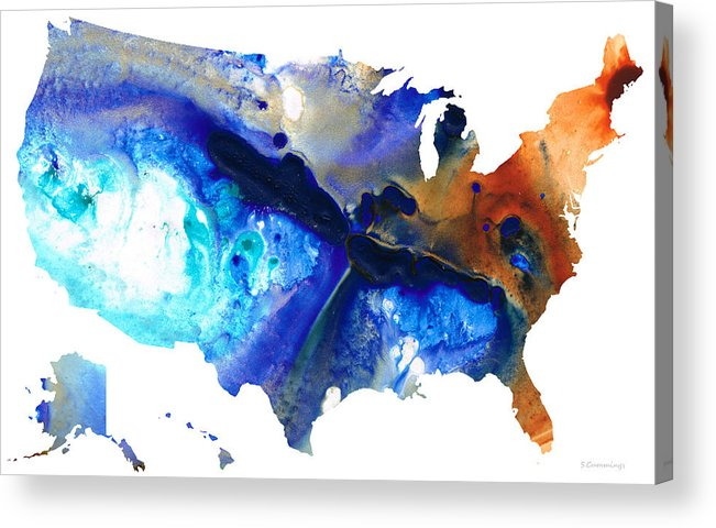 Colorful Map Of Usa.United States Of America Map 7 Colorful Usa Acrylic Print By