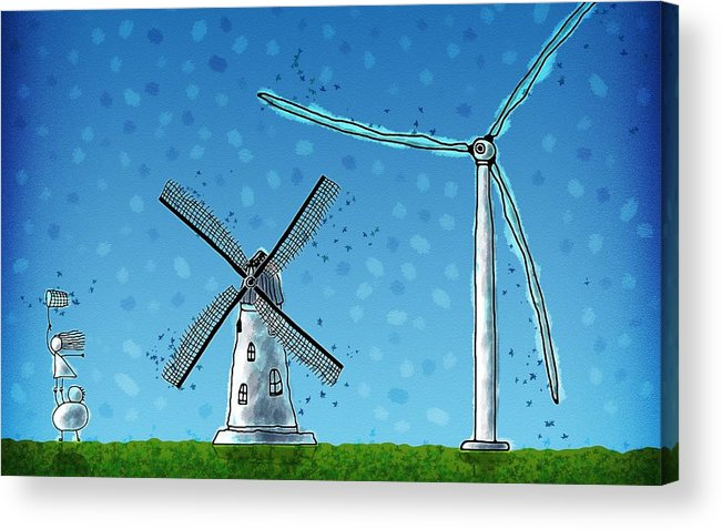 Abstract Acrylic Print featuring the digital art Wind Blows by Gianfranco Weiss