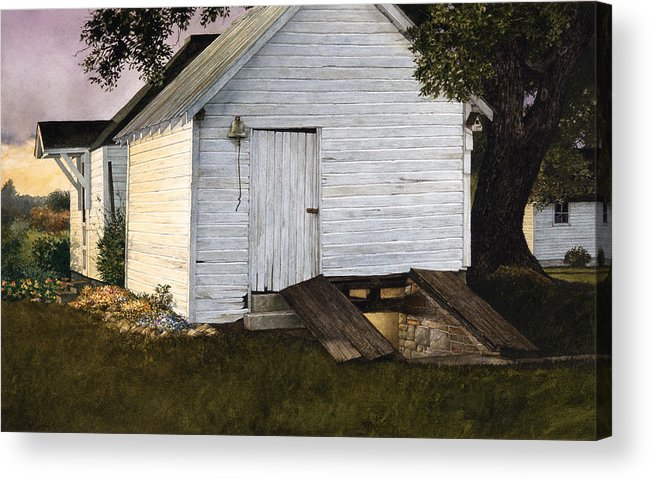 Landscape Acrylic Print featuring the painting Winter Stores by Tom Wooldridge