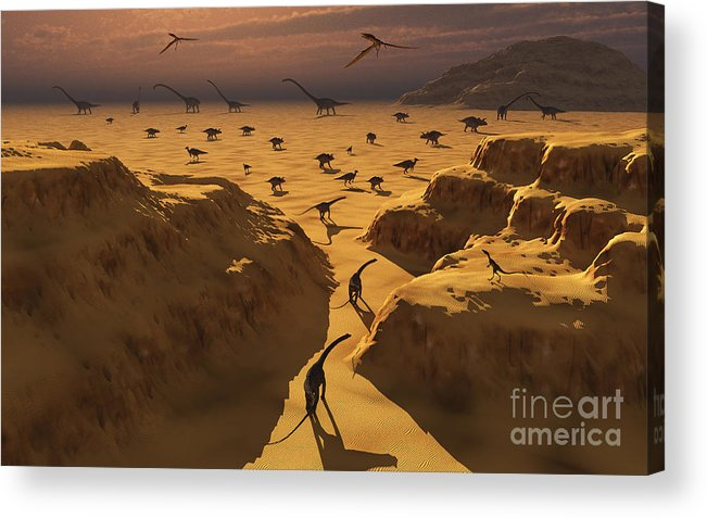 Horizontal Acrylic Print featuring the digital art A Mixed Herd Of Dinosaurs Migrate by Mark Stevenson