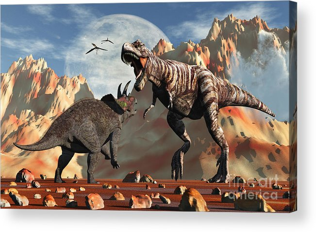 Horizontal Acrylic Print featuring the digital art Tyrannosaurus Rex And Triceratops Meet by Mark Stevenson
