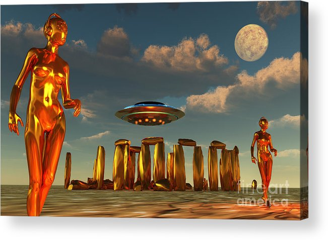 Horizontal Acrylic Print featuring the digital art Alien Interdimensional Beings Recharge by Mark Stevenson