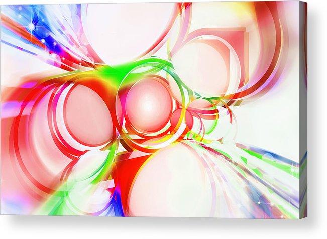 Rainbow Acrylic Print featuring the painting Abstract Of Circle by Setsiri Silapasuwanchai