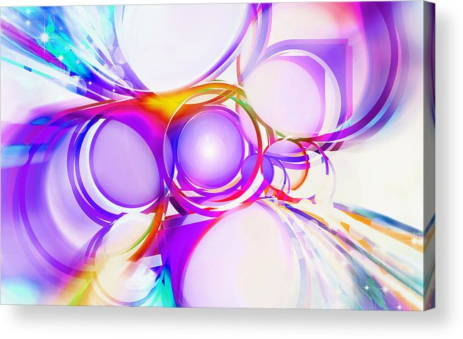 Rainbow Acrylic Print featuring the painting Abstract Of Circle by Setsiri Silapasuwanchai