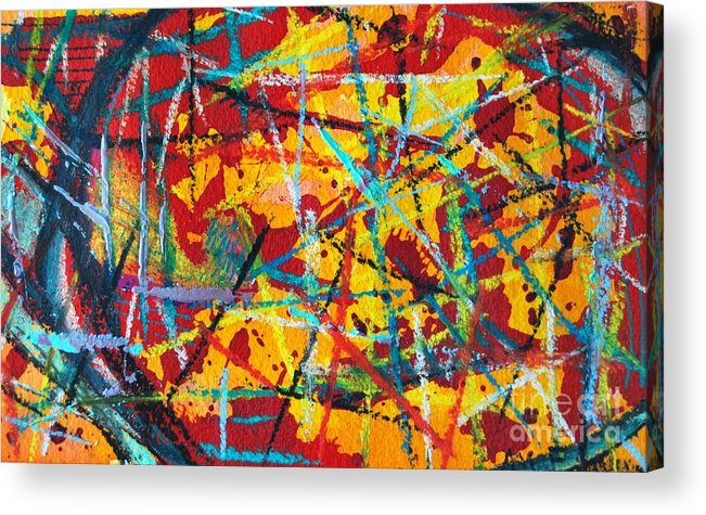 Abstract Acrylic Print featuring the painting Abstract Pizza 1 by Ana Maria Edulescu