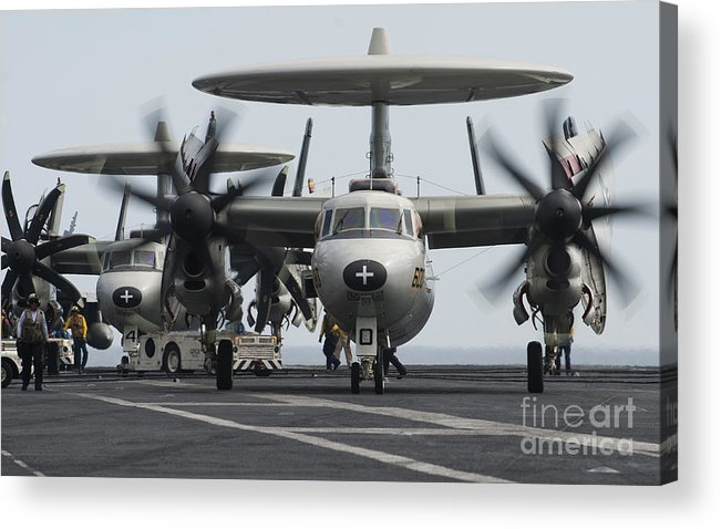 Taxiing Acrylic Print featuring the photograph An E-2c Hawkeye Aircraft On The Flight by Stocktrek Images