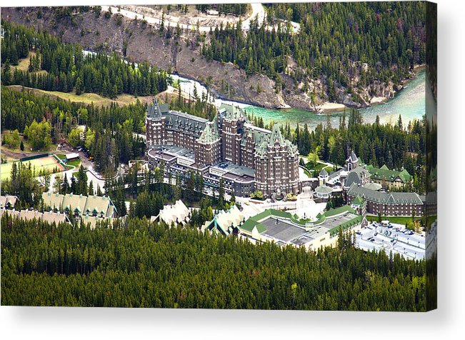 Canadian Rockies Acrylic Print featuring the photograph Banff Hotel 1575 by Larry Roberson