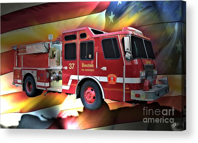 Boston Acrylic Print featuring the digital art Boston Engine 37 by Tommy Anderson