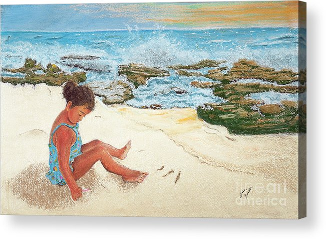 Impressionism Acrylic Print featuring the painting Camila And The Carribean Sea by Jim Barber Hove