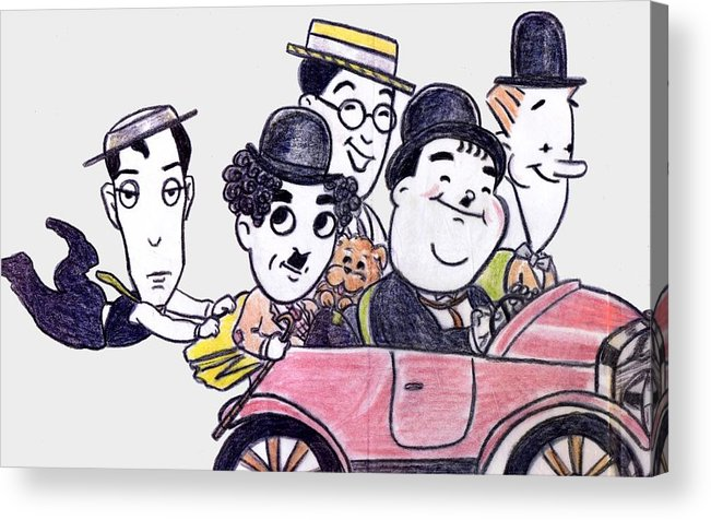 Nostalgia Acrylic Print featuring the drawing Comedians In Model T by Mel Thompson