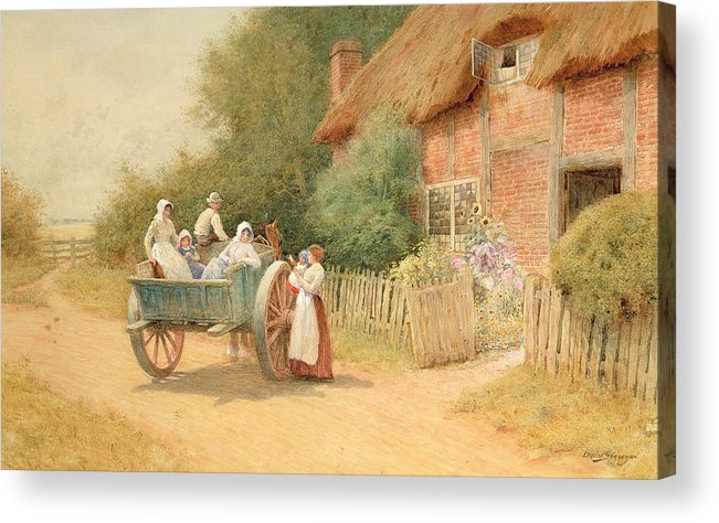 Horse And Cart; Cottage Garden; Rural; Countryside; Vernacular Architecture; Summer; Mother And Child; Baby; Thatched; Waving; Seeing Off Acrylic Print featuring the painting Farewell by Arthur Claude Strachan