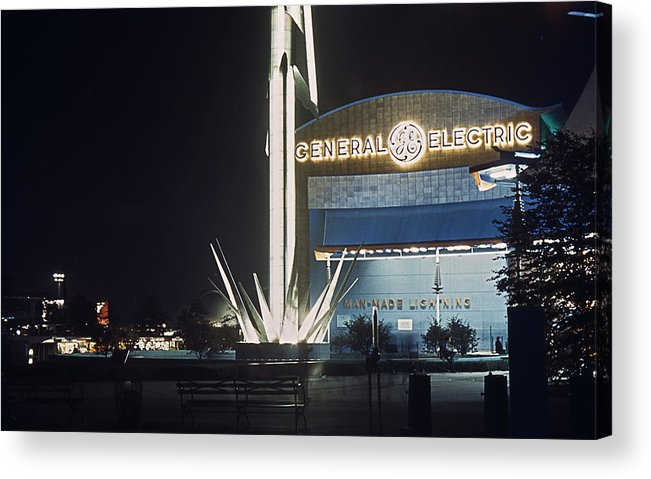 World's Fair Acrylic Print featuring the photograph General Electric Pavilion At Night by David Halperin
