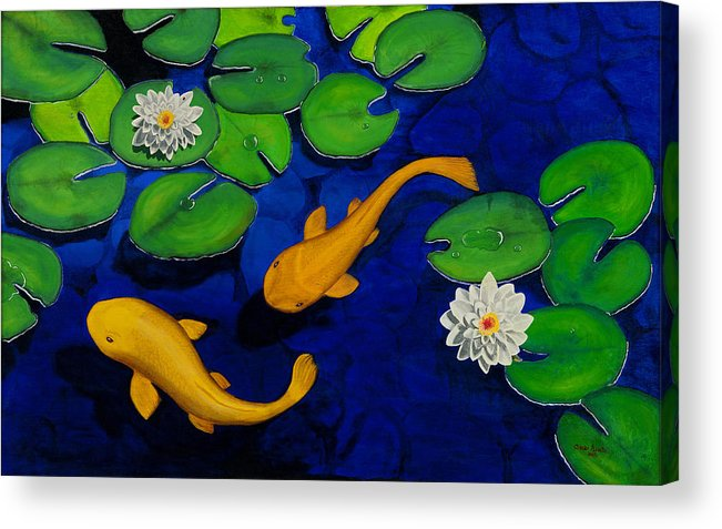 Koi Fish Acrylic Print featuring the painting Koi Fish by Oscar Acosta