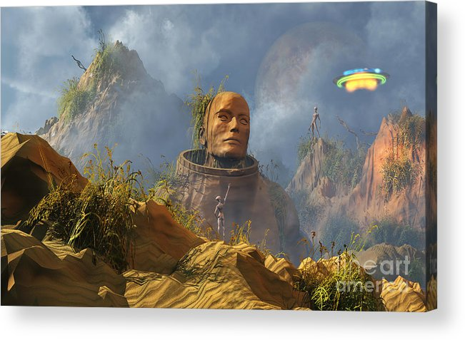 Horizontal Acrylic Print featuring the digital art Reptoid Aliens Discover A Statue by Mark Stevenson