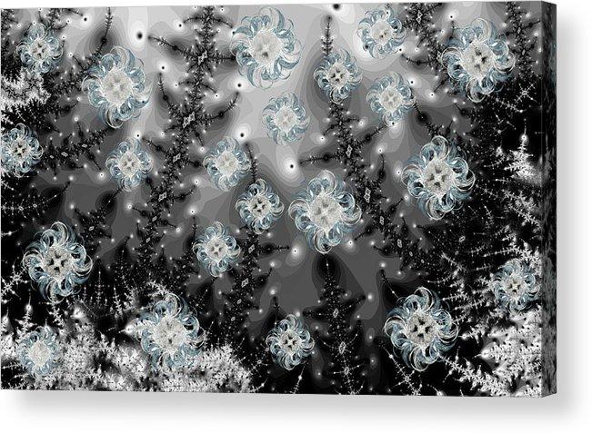 Fractal Acrylic Print featuring the digital art Snowy Night I Fractal by Betsy Knapp