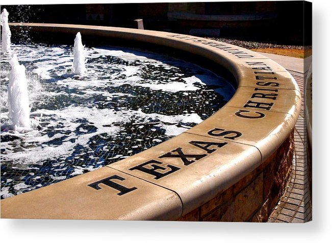 Tcu Acrylic Print featuring the photograph Tcu Frog Fountain by Judge Howell