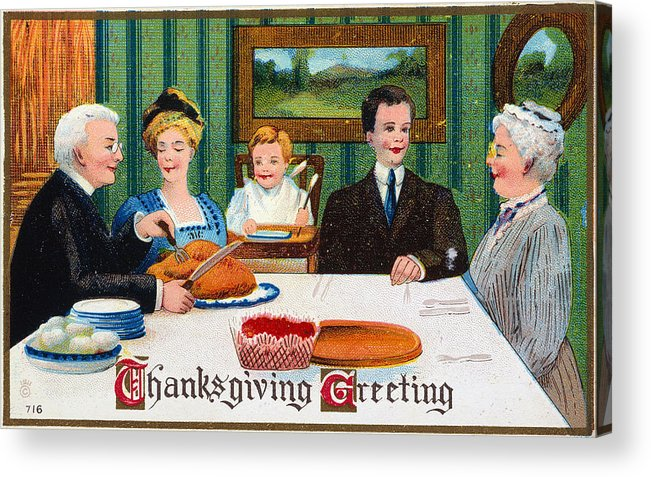 1910 Acrylic Print featuring the photograph Thanksgiving Card, 1910 by Granger