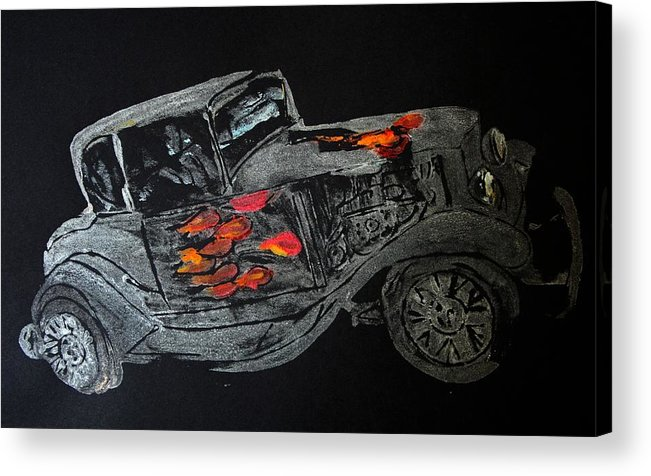 Car Prints Acrylic Print featuring the painting Ghost On Fire by Ana Bikic