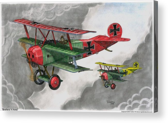 Aircraft Acrylic Print featuring the drawing Brothers In Arms by Trenton Hill