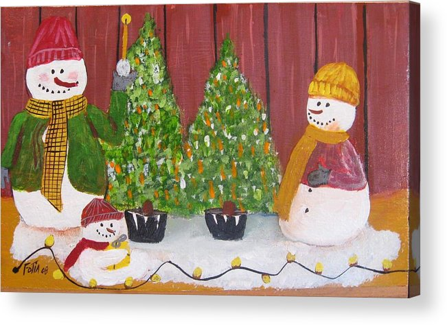 Snowmen Acrylic Print featuring the painting Holiday Snowmen by Rich Fotia