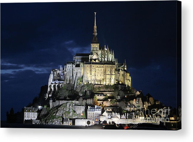 Mont St Michel Acrylic Print featuring the photograph Mont St. Michel At Night by Joshua Francia