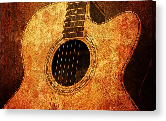 Aged Acrylic Print featuring the mixed media Old Guitar by Nattapon Wongwean