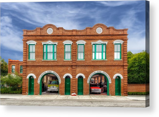 Frank J Benz Acrylic Print featuring the photograph 1887 Charleston Fire Station - 1 by Frank J Benz