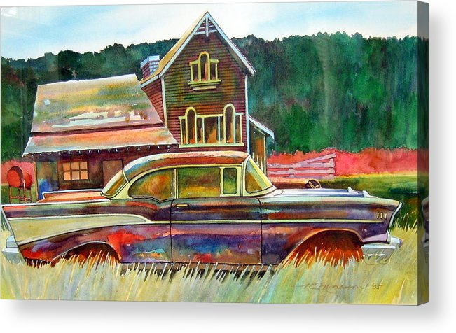 57 Chev Acrylic Print featuring the painting American Heritage by Ron Morrison