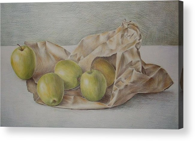 Drawing Acrylic Print featuring the drawing Apples In A Paper Bag by Jubamo
